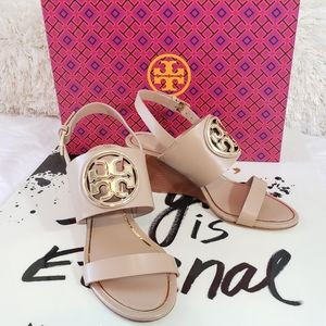 NWT Tory Burch Metal Miller Leather Wedge Sandals